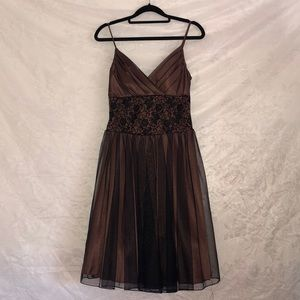 Brown and black formal dress